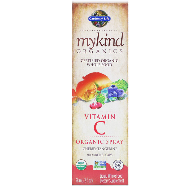 Garden of Life, MyKind Organics, Vitamin C Organic Spray, Cherry-Tangerine, 2 fl oz (58 ml)