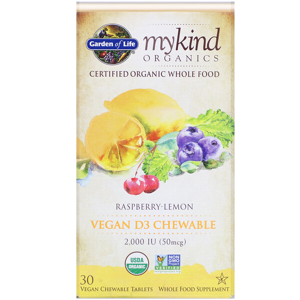 Garden of Life, MyKind Organics, Vegan D3, Raspberry-Lemon, 50 mcg (2,000 IU), 30 Vegan Chewable Tablets