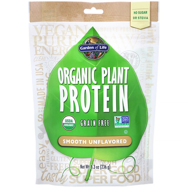 Garden of Life, Organic Plant Protein, Smooth Unflavored, 8.3 oz (236 g)