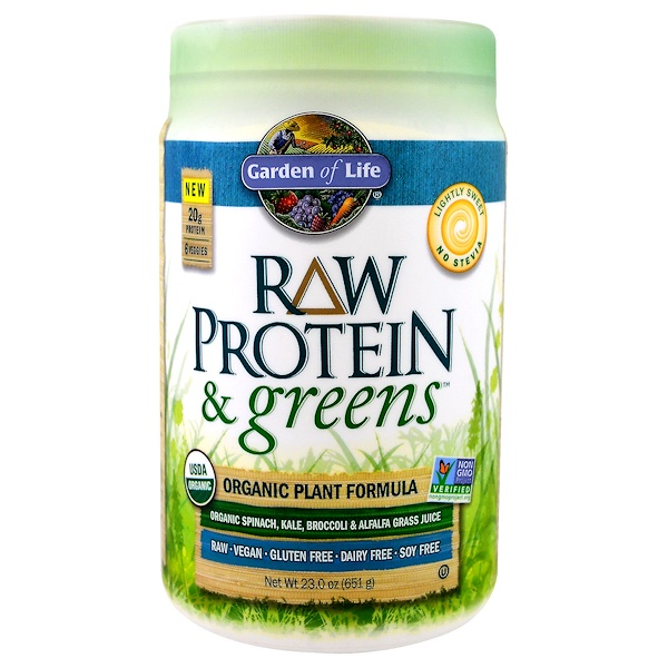 Garden of Life, Raw Protein & Greens, Organic Plant Formula, Lightly Sweet, 1.43 lbs (651 g)