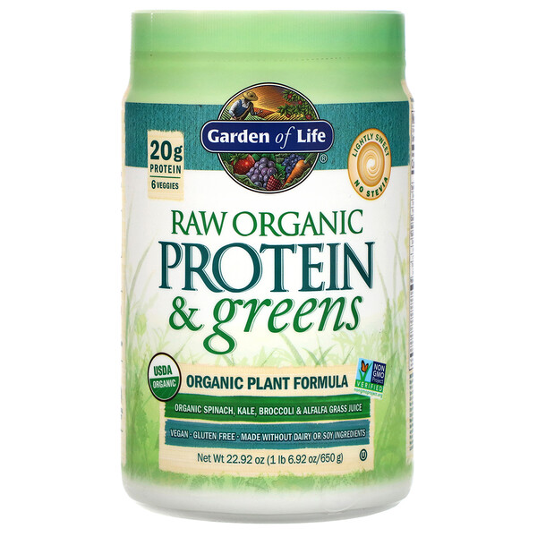 RAW Protein & Greens, Organic Plant Formula, Lightly Sweet, 22.92 oz (650 g)