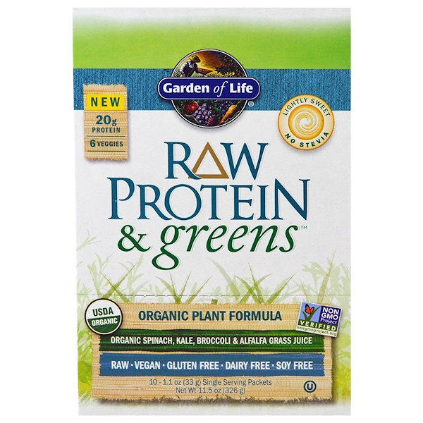 Garden of Life, RAW Protein & Greens, Organic Plant Formula, Lightly Sweet, 10 Packets, 1.1 oz (33 g) Each (Discontinued Item)