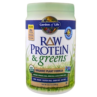 Garden of Life, Raw Protein & Greens, Orgnic Plant Formula, Real Raw Vanilla, 19.3 oz (548 g)