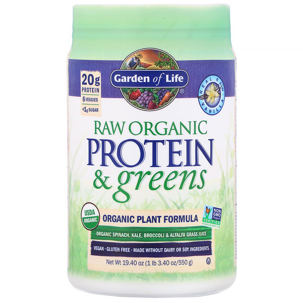 RAW Protein & Greens, Organic Plant Formula, Vanilla, 19.40 oz (550 g)