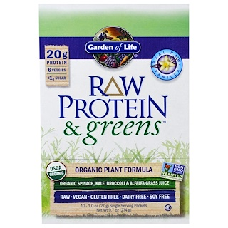 Garden of Life, Raw Protein & Greens, Organic Plant Formula, Real Raw Vanilla, 10 Packets, 1.0 oz (27 g) Each