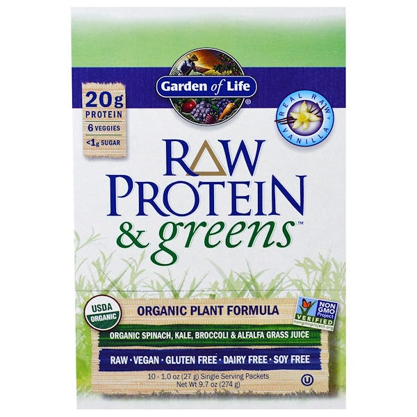 Garden Of Life Raw Protein Greens Organic Plant Formula Real Raw Vanilla 10 Packets 1 0