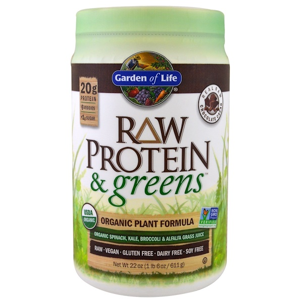 Garden of Life, Raw Protein & Greens, Organic Plant Formula, Real Raw Chocolate Cacao, 1.4 lbs (611 g)