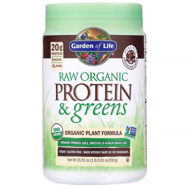 Garden of Life, RAW Protein & Greens, Organic Plant Formula, Real Raw Chocolate Cacao, 21.51 oz (610 g)