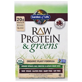 Garden of Life, Raw Protein & Greens, Organic Plant Formula, Real Raw Chocolate Cacao, 10 Packets, 1.1 oz (33 g) Each