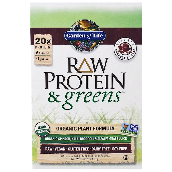 Garden of Life, RAW Protein & Greens, Organic Plant Formula, Real Raw Chocolate Cacao, 10 Packets, 1.1 oz (33 g) Each (Discontinued Item)