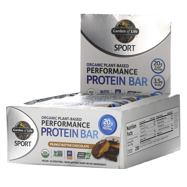 Garden of Life, Sport, Organic Plant-Based Performance Protein Bar, Peanut Butter Chocolate, 12 Bars, 2.64 oz (75 g) Each