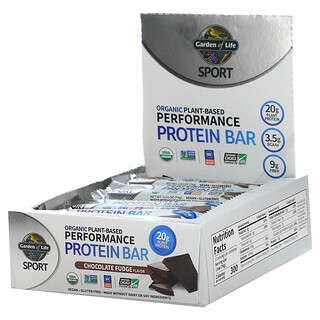 Garden of Life, Sport, Organic Plant-Based Performance Protein Bar, Chocolate Fudge, 12 Bars, 2.61 oz (74 g) Each