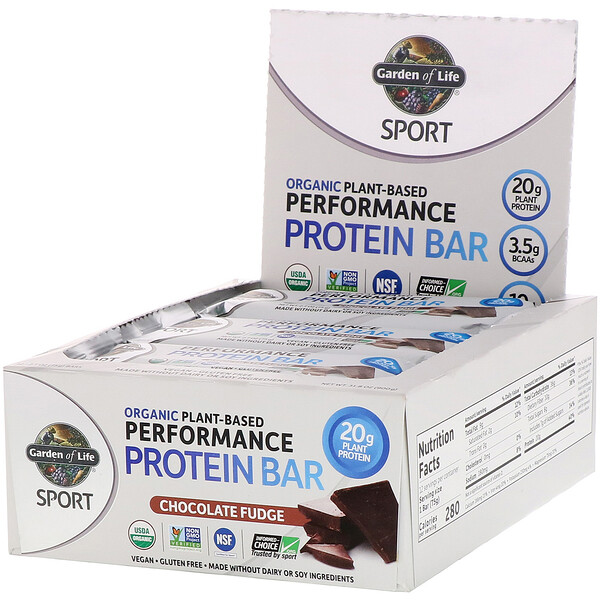 Sport, Organic Plant-Based Performance Protein Bar, Chocolate Fudge, 12 Bars, 2.7 oz (75 g) Each