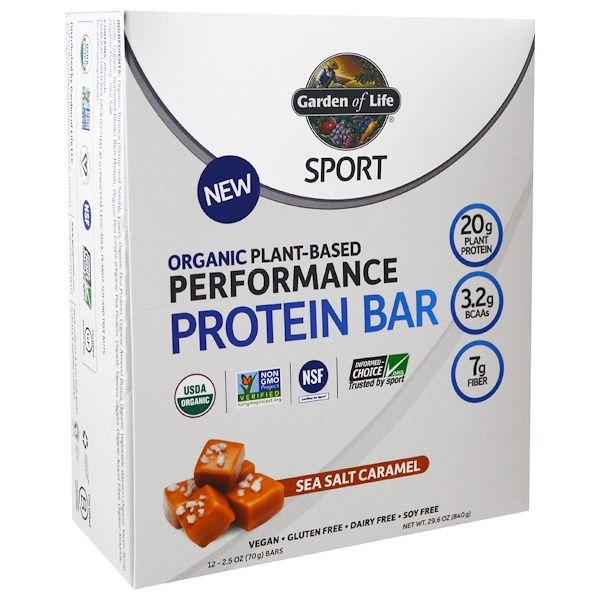 Garden of Life, 스포츠, 유기농 식물 기반 퍼포먼스 단백질 바, 바다 소금 캐러멜, 12개, 각 2.5 oz (70 g)