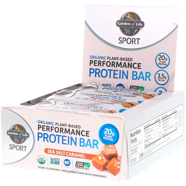 Sport, Organic Plant-Based Performance Protein Bar, Sea Salt Caramel, 12 Bars, 2.5 oz (70 g) Each