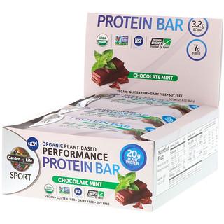 Garden of Life, Спорт, органический растительный белковый батончик для улучшения показателей, шоколадная мята, 12 батончиков, по 2,5 унции (70 г) каждый