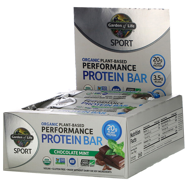 Sport, Organic Plant-Based Performance Protein Bar, Chocolate Mint, 12 Bars, 2.46 oz (70 g) Each