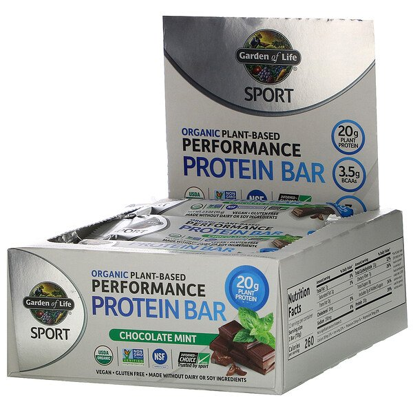 Sport, Organic Plant-Based Performance Protein Bar, Chocolate Mint, 12 Bars, 2.5 oz (70 g) Each