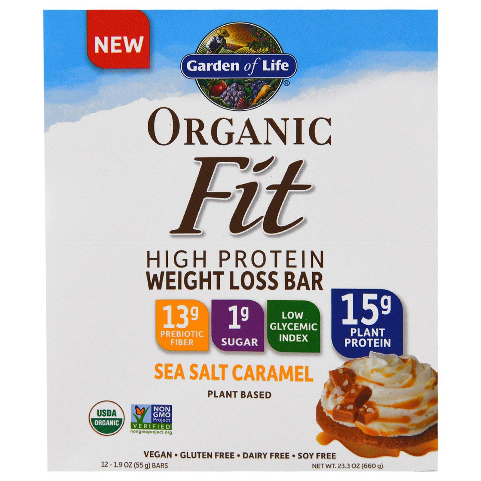 Garden of Life, Organic Fit, Высокобелковый  Батончик для Эффективной Потери Веса, Карамель с Морской Солью, 12 Батончиков, по 1,9 унции (55 г) Каждый