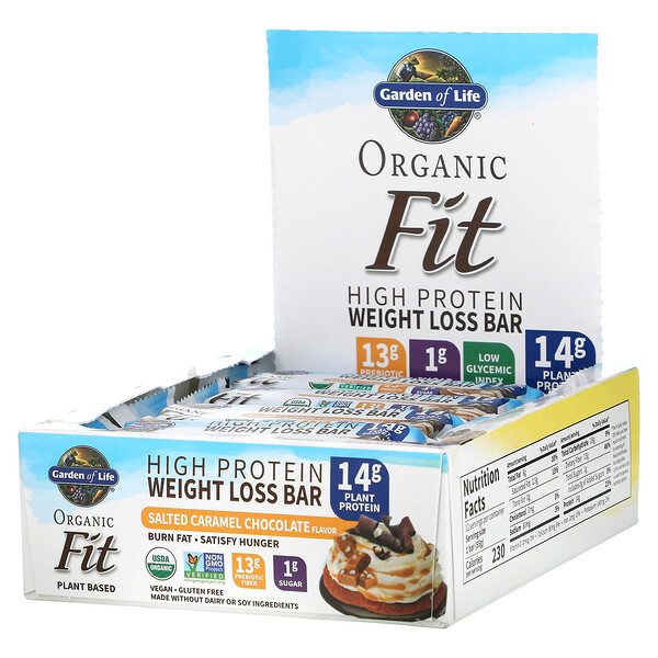 Organic Fit, High Protein Weight Loss Bar, Salted Caramel Chocolate, 12 Bars, 1.94 oz (55 g) Each