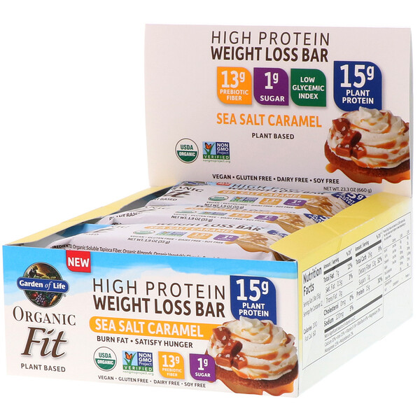 Garden of Life, Organic Fit, High Protein Weight Loss Bar, Sea Salt Caramel, 12 Bars, 1.9 oz (55 g) Each