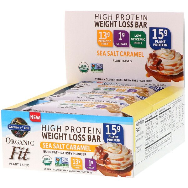Organic Fit, High Protein Weight Loss Bar, Sea Salt Caramel, 12 Bars, 1.9 oz (55 g) Each