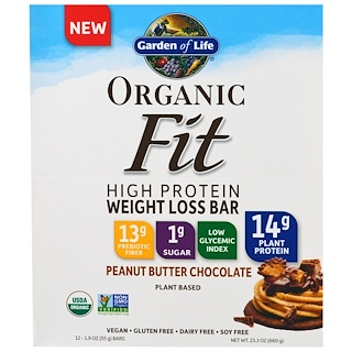 Garden of Life, Organic Fit, High Protein Weight Loss Bar, Peanut Butter Chocolate, 12 Bars, 1.9 oz ..