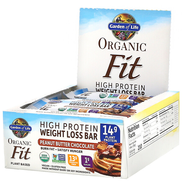 Organic Fit, High Protein Weight Loss Bar, Peanut Butter Chocolate, 12 Bars, 1.94 oz (55 g) Each