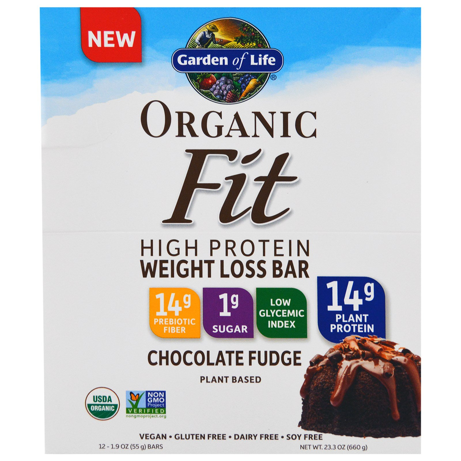 Garden Of Life Organic Fit High Protein Weight Loss Bar Chocolate Fudge