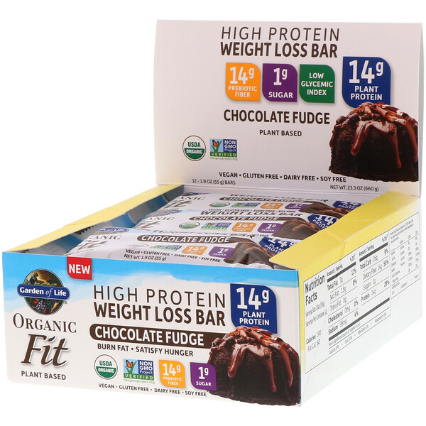 Garden of Life, Organic Fit, High Protein Weight Loss Bar, Chocolate Fudge, 12 Bars, 1.9 oz (55 g) Each