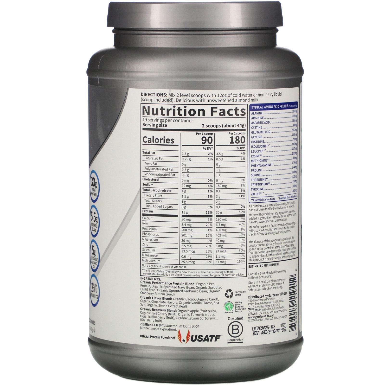 Garden Of Life Sport Organic Plant Based Protein Refuel Chocolate Flavor 29 6 Oz 840 G Iherb