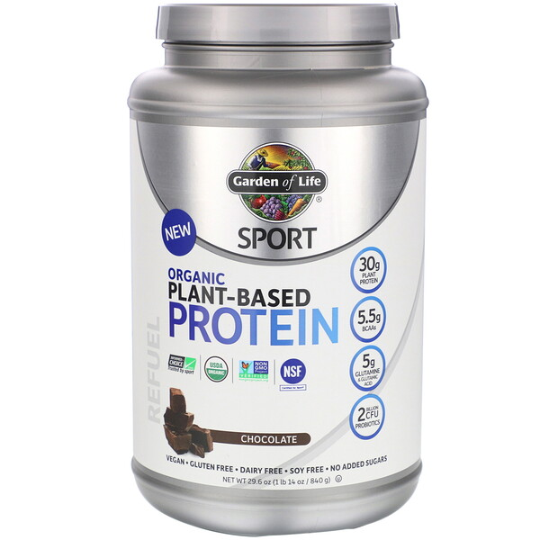Garden of Life, Sport, Organic Plant-Based Protein, Refuel, Chocolate, 29.6 oz (840 g)