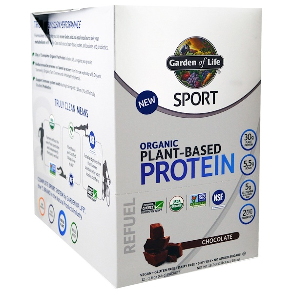 Garden of Life, Sport, Organic Plant-Based Protein, Refuel, Chocolate, 12 Packets, 1.6 oz (44 g) Each