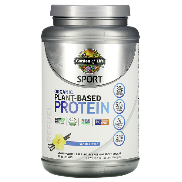Sport، بروتين نباتي عضوي، نكهة الفانيليا، 1 رطل 12 أونصة (806 جم)