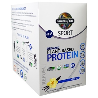 Garden of Life, Sport, Organic Plant-Based Protein, Refuel, Vanilla, 12 Packets, 1.5 oz (42 g) Each