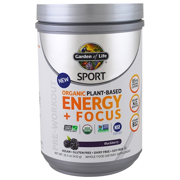 Garden of Life, Sport, Organic Plant-Based Energy + Focus, Pre-Workout, Blackberry, 15.3 oz (432 g) (Discontinued Item)