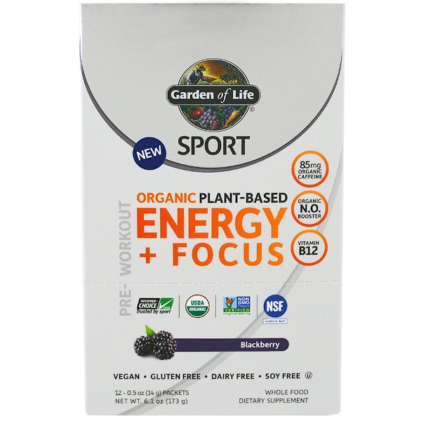 Garden Of Life Sport Organic Plant Based Energy Focus Pre Workout Blackberry 12 Packets