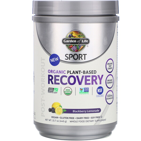 Garden of Life, Sport, Organic Plant-Based Recovery, Blackberry Lemonade, 15.7 oz (446 g) (Discontinued Item)