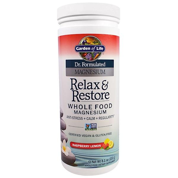 Garden of Life, Dr. Formulated Magnesium Relax & Restore, Raspberry Lemon, 8.1 oz (230 g) (Discontinued Item)