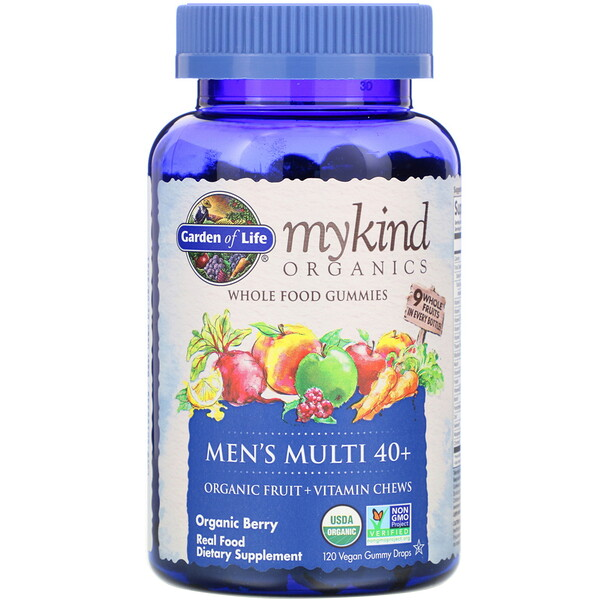 Garden of Life, MyKind Organics, Men's Multi 40+, Organic Berry, 120 Vegan Gummy Drops