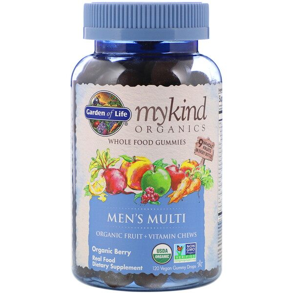 Garden of Life, MyKind Organics, Men's Multi, Organic Berry, 120 Vegan Gummy Drops