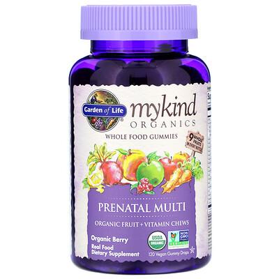 Купить Garden of Life MyKind Organics, пренатальные мультивитамины, со вкусом ягод, 120 веганских жевательных таблеток
