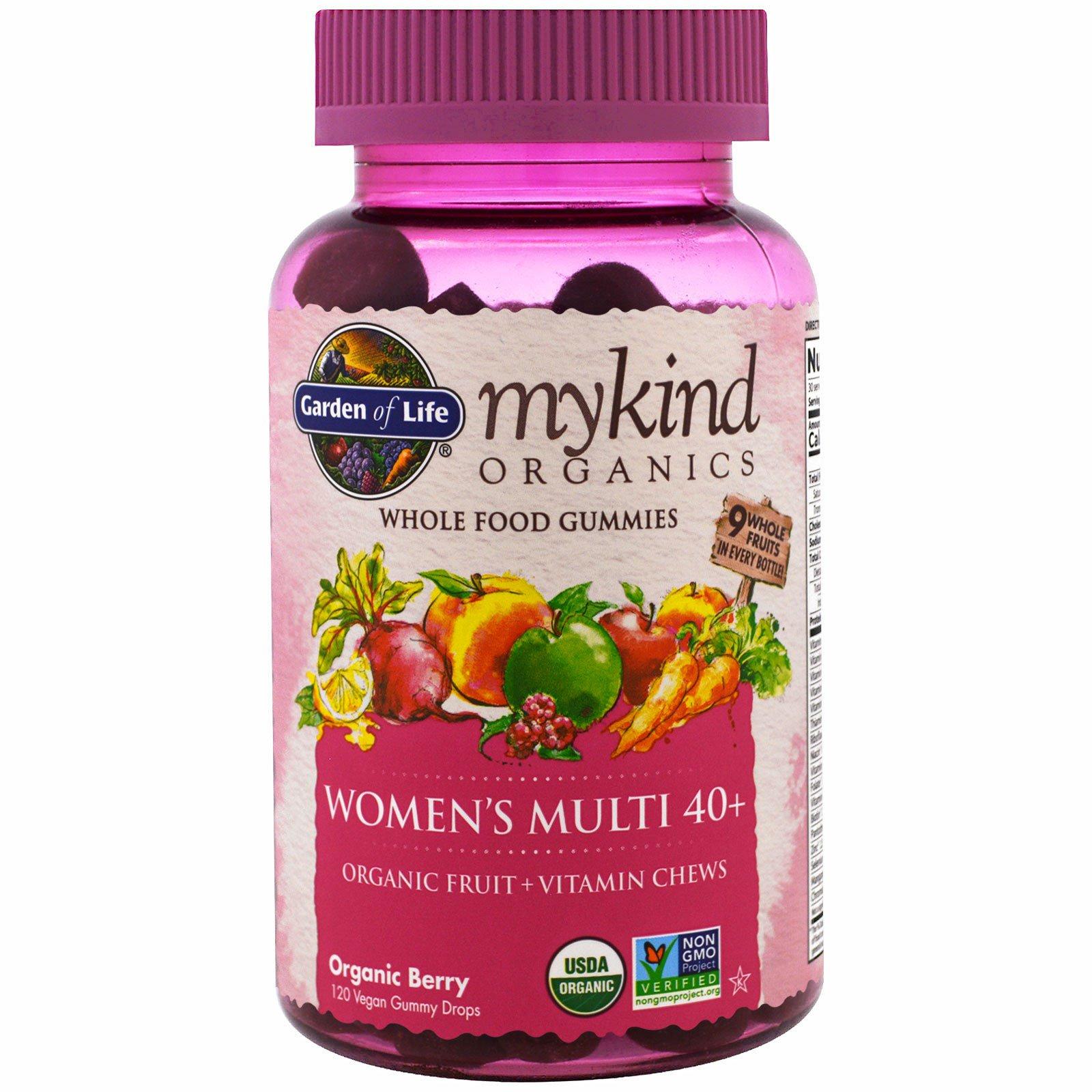 Garden of Life, Mykind Organics, мультивитамин для женщин старше 40 лет, органические ягоды, 120 жевательных конфет