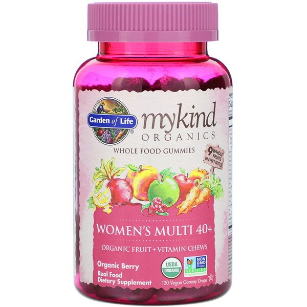 MyKind Organics, Women's Multi 40+, Organic Berry, 120 Vegan Gummy Drops