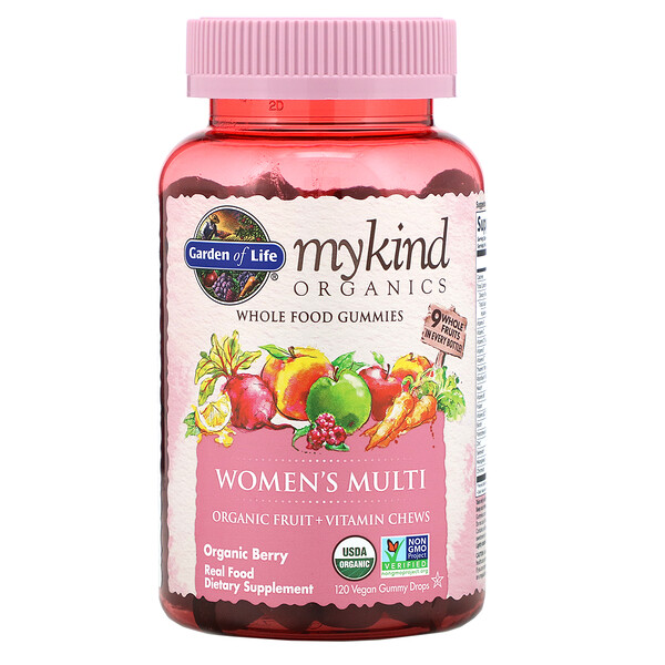 Garden of Life, MyKind Organics, Women's Multi, Organic Berry, 120 Vegan Gummy Drops