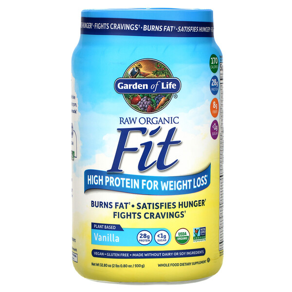 Garden of Life, RAW Organic Fit, High Protein for Weight Loss, Vanilla, 32.80 oz (930 g)