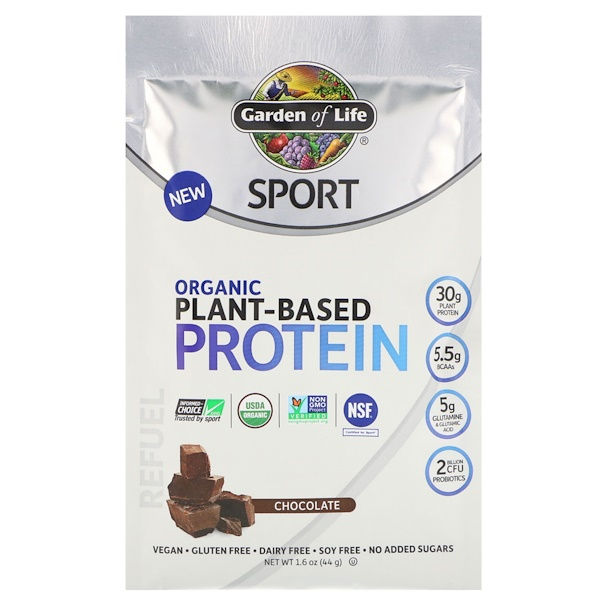Garden of Life, Sport, Organic Plant-Based Protein, Refuel, Chocolate, Trial Size, 1.6 oz (44 g)