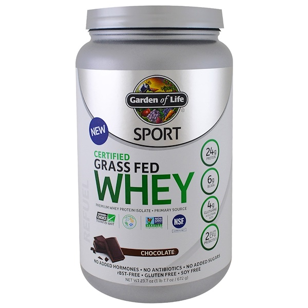 Garden of Life, Sport, Certified Grass Fed Whey, Chocolate, 1.48 lbs (672 g)