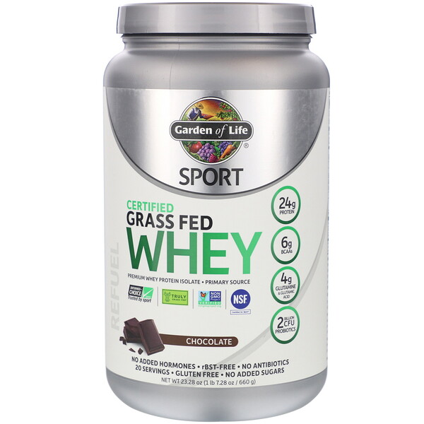 Garden of Life, Sport, Certified Grass Fed Whey, Refuel, Chocolate, 23.28 oz (660 g)
