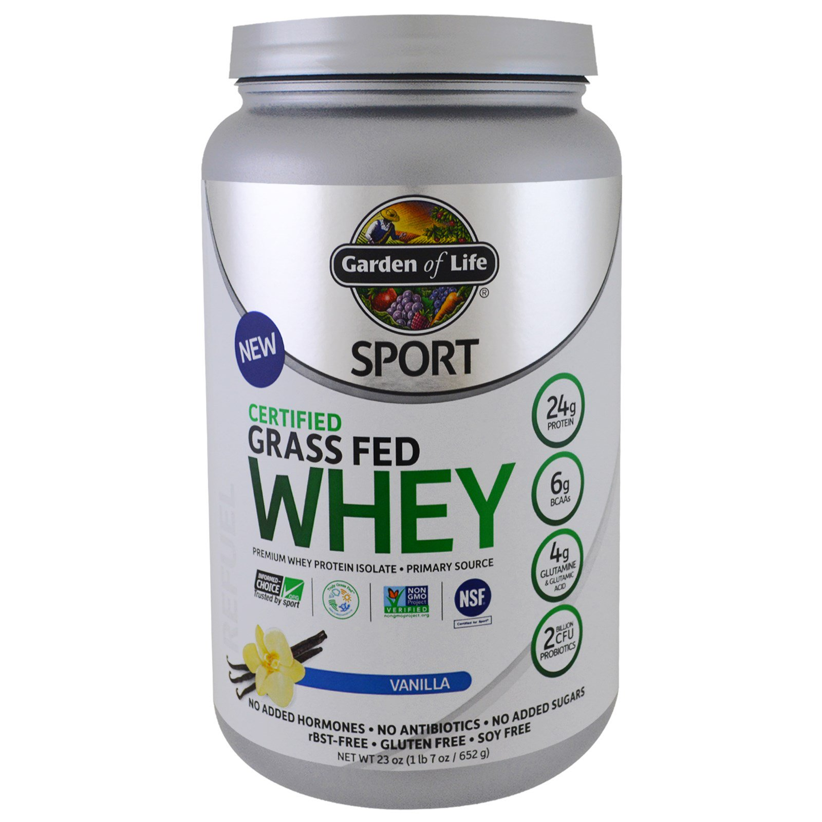 Garden Of Life Sport Certified Grass Fed Whey Protein Refuel Vanilla 1 4 Lbs 652 G